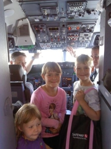 The kids in the cockpit